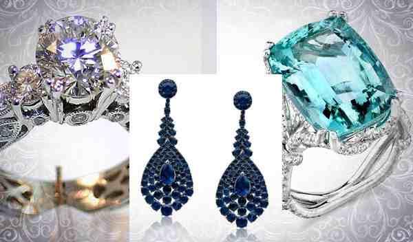 Кольцо с алмазом, серьги с сапфиром, перстень с бериллом