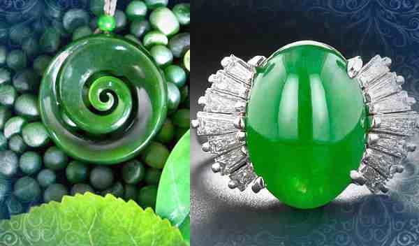 Свойства нефрита сохраняются в украшениях (на фото кулон и кольцо)