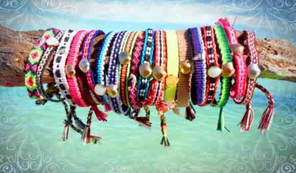 Цветные браслеты из ниток