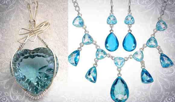 Фото: кулон и ожерелье с аквамарином