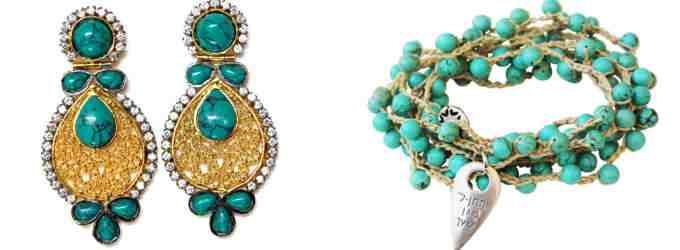 Серьги и браслет с натуральной бирюзой (фото)
