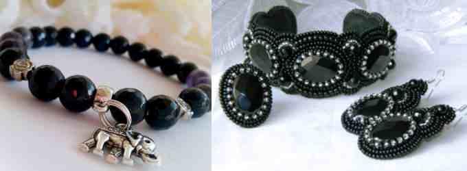 На фото: стильные браслеты с черным камнем