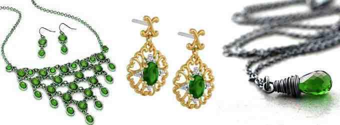На фото зеленая разновидность в изысканных украшениях