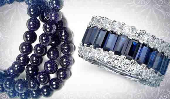 Синий авантюрин (бусики) и кольцо с сапфиром