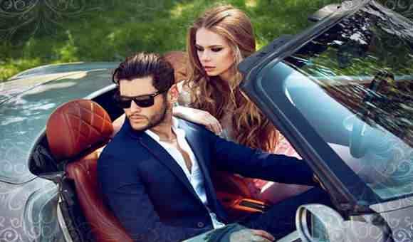 Стильная пара в машине