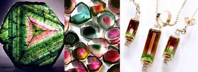 Разнообразные оттенки турмалиновых кристаллов