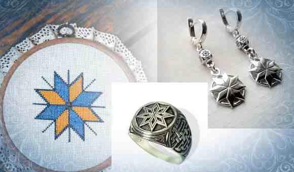 Серьги, кольцо  вышивка с изображение знака