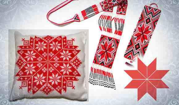 Обережная славянская вышивка с символом Алатырь
