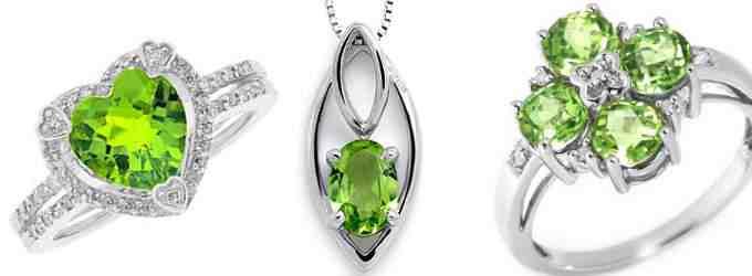 На фото: украшения с самоцветом, кольца и кулон