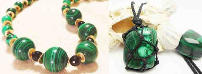 кулон и бусы с зеленым самоцветом (фото)