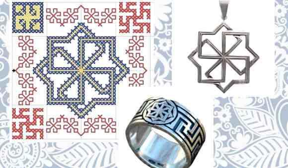 Славянская вышивка и украшения с изображением знака