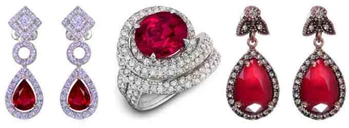 Серьги и кольцо с рубином (фото)