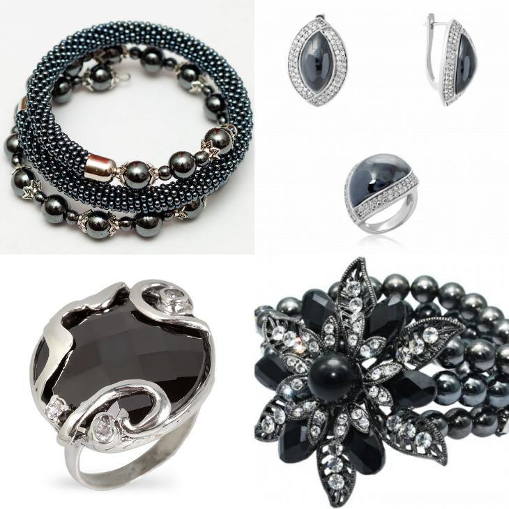 браслет, серьги, кольца из гематита