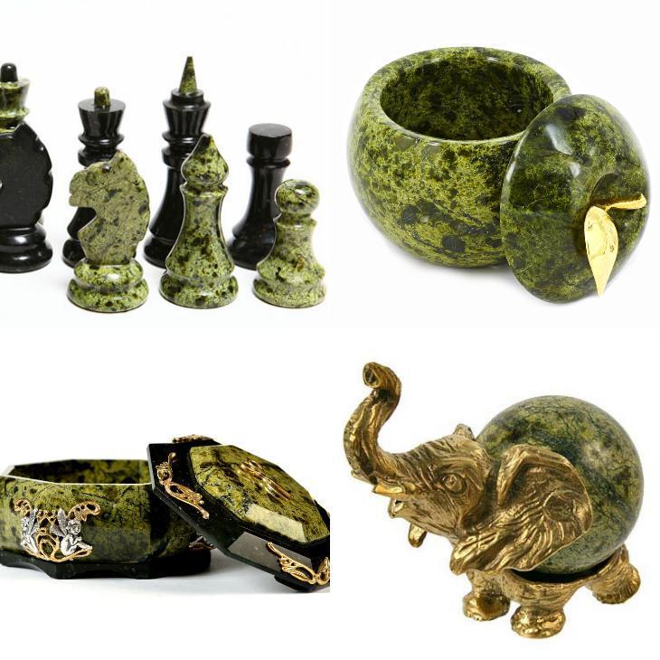 шкатулки, статуетки, шахматы из змеевика