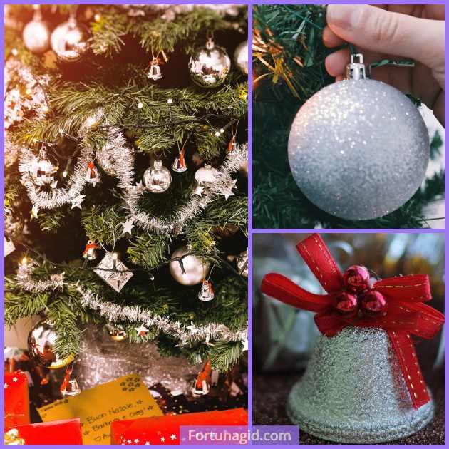 серебристый декор елки