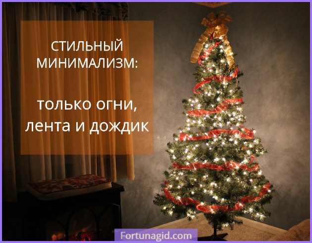 наряженная елка в стиле минимализм
